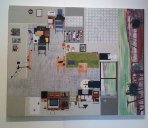 """Jim's Studio,"" by Anne Toebbe.  Collage with elements of drawing and painting, approx 2 feet high by 3 feet wide, c. 2012"