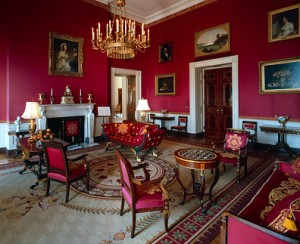 The Red Room, one of the diplomatic reception rooms on the first floor of the White House, during the Clinton administration.